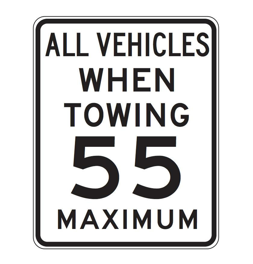 California towing speed limit sign