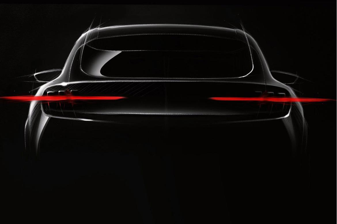 Ford Mustang-inspired 'Mach 1' electric SUV teased in first image