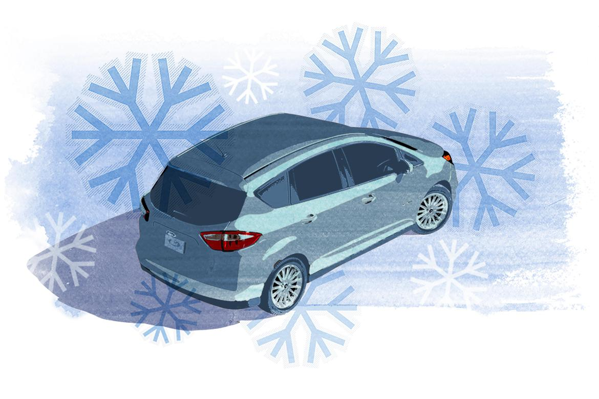 Illustrated car with snow flakes.