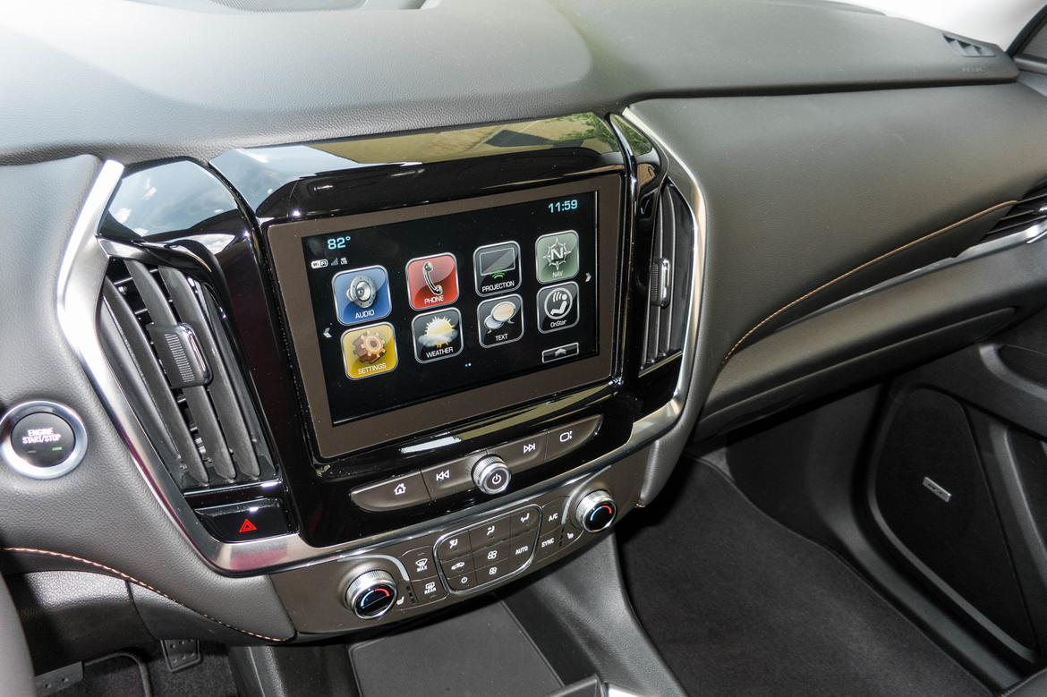 detailed view of the center stack display in a 2018 chevrolet traverse