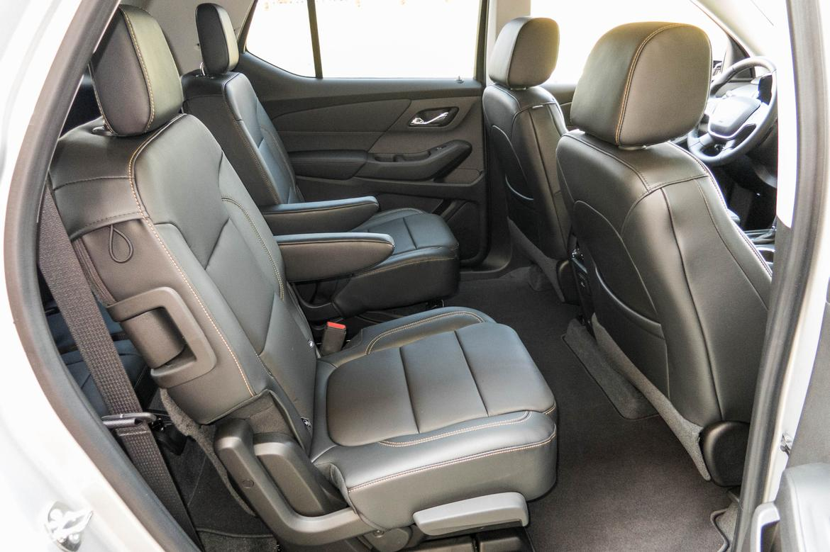 second row seats in a 2018 chevrolet traverse. the upholstery is grey.