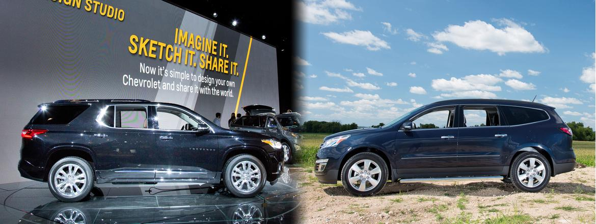 (left to right) 2018 Chevrolet Traverse, 2017 Chevrolet Traverse