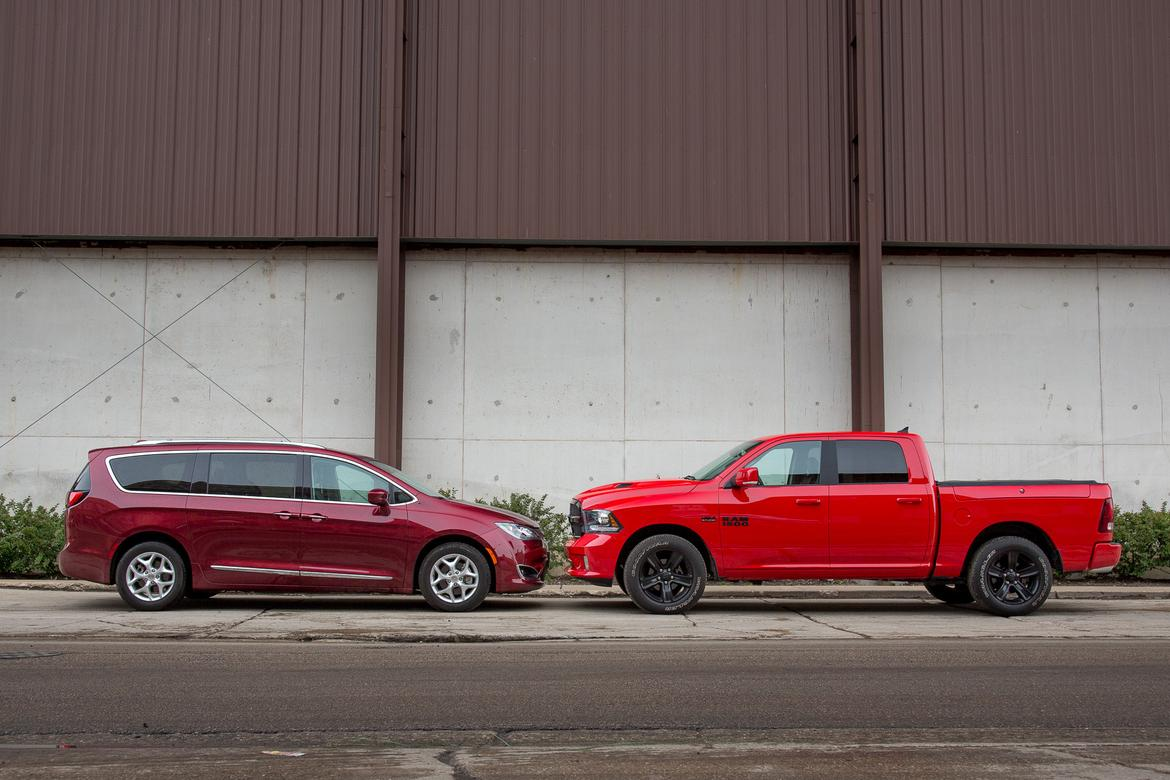 (left to right) 2017 Chrysler Pacifica, 2017 Ram 1500