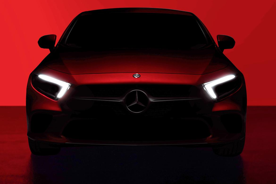 mercedes benz teases redesigned cls coupe due in l a. Black Bedroom Furniture Sets. Home Design Ideas