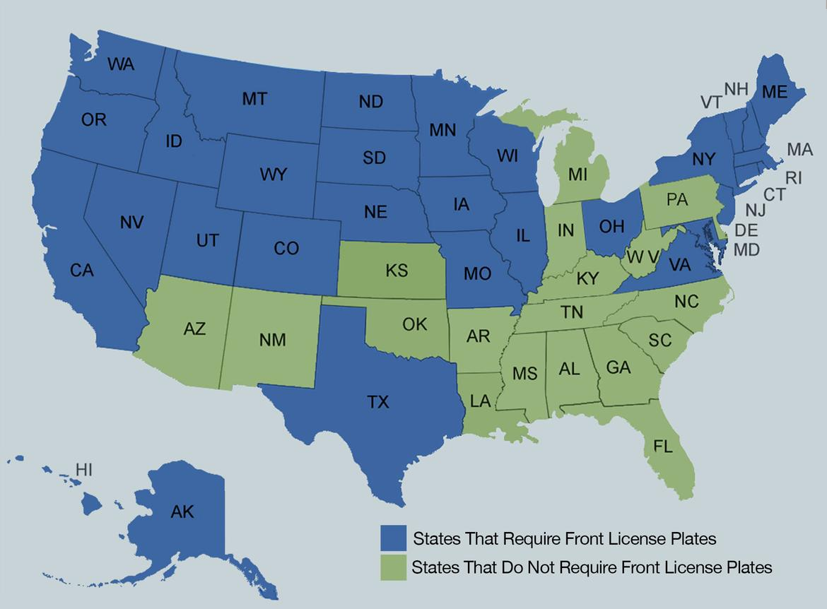 Which States Don T Require A Front License Plate News